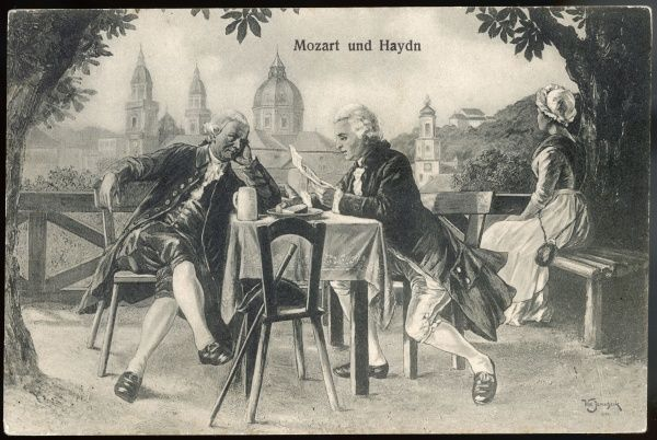 WOLFGANG AMADEUS MOZART the Austrian composer with his tutor, Josef Haydn (L)