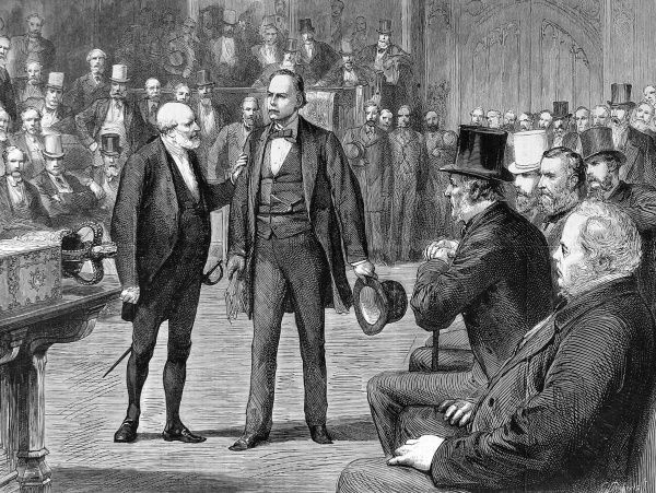 A sketch showing Mr Bradlaugh being arrested by Captain Gosset, Sergent-at-Arms upon the speakers warrant. In 1881 Mr Gladstone introduced a bill that allowed non-believers to affirm their allegiance to the Crown. Mr Bradlaugh was an announced atheist
