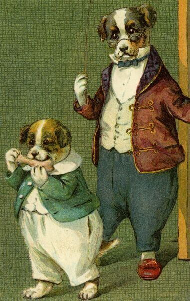 Mr Dog and son by gh Thompson. George Henry Thompson (1859-1959) specialised in illustrating humorous animals. He was also a landscape painter. This image in books and postcards by Ernest Nister. Date: circa 1904