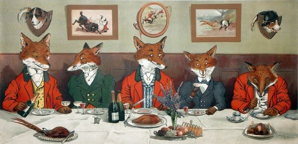 Mr Fox's Hunt Breakfast by Harry Bingham Nielson (1861-1941), showing a group of foxes dressed in hunting garb, sitting down to a breakfast of game birds