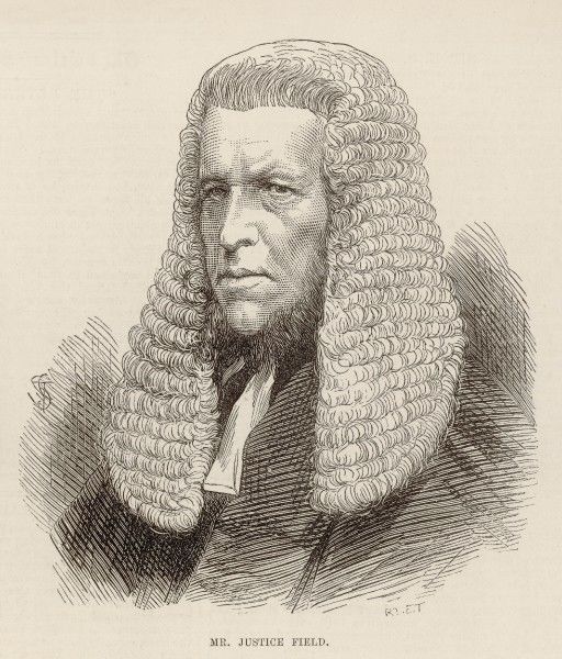 William Ventris Field(1813-1907), shown here in 1875 when newly appointed as one of the judges of the Court of Queen's Bench. In 1890, he will be raised to the peerage, and become Baron Field of Bakeham