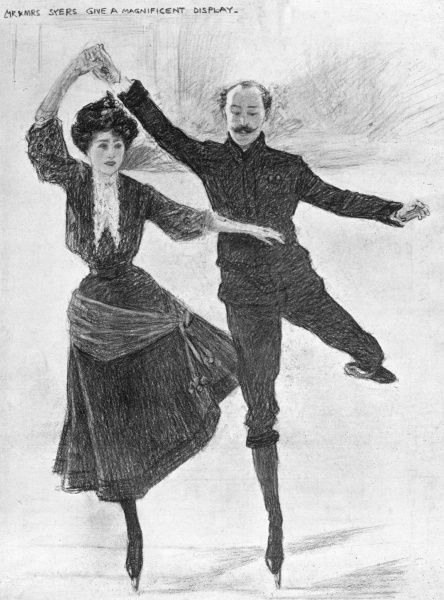"Florence ""Madge"" Syers skating with her husband and coach Edgar Syers at the Prince's Skating Club in aid of Our Dumb Friends' League"