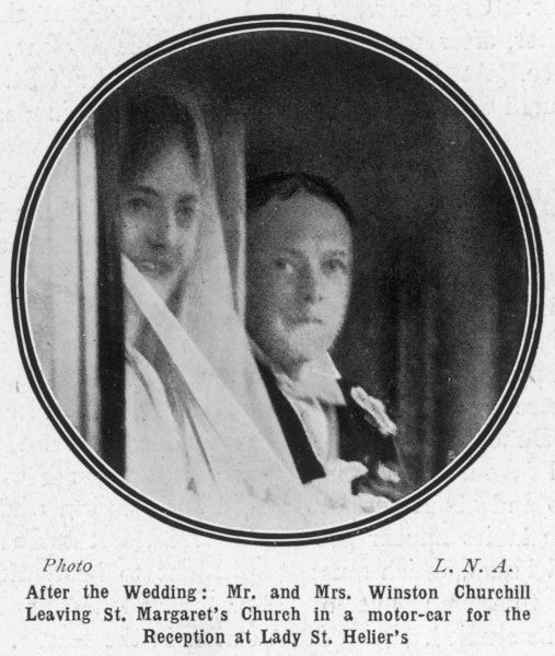 Winston Churchill and Clementine Hozier glimpsed in their motor car following their marriage at St. Margaret's Church in Westminster on 12th September 1908