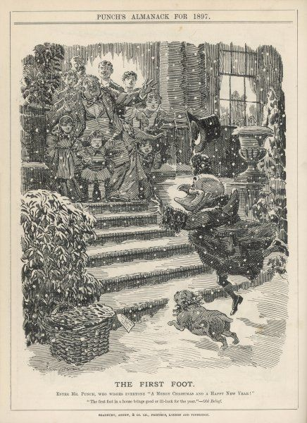Mr Punch goes First Footing in the New Year -- he and his dog Toby are just about to run up some snow-covered steps into a house where a family are waiting to welcome them