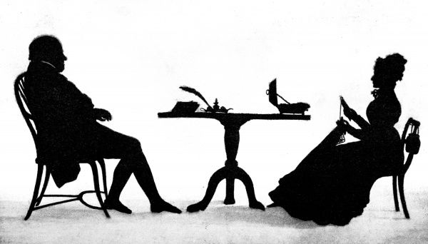 A silhouette showing Mr Richard Comings and his wife seated at a table. Date: 1898
