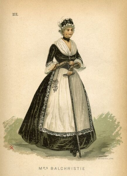 Fancy dress costume idea from 1884 for Mrs Balchristie, a character from Sir Walter Scott's 'Heart of Midlothian'. The costume comprises a dark dress, plain skirt, low square bodice, kerchief inside with sleeves to the elbow and muslin below