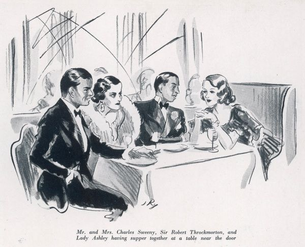 Mr and Mrs Charles Sweeny (Mrs Charles Sweeny was formerly Miss Margaret Whigham and later the infamous Duchess of Argyll), having supper together with Sir Robert Throckmorton and Lady Ashley at the Embassy Club in London in 1934