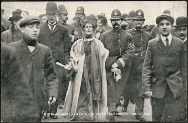 Mrs Pankhurst arrested in Victoria Street