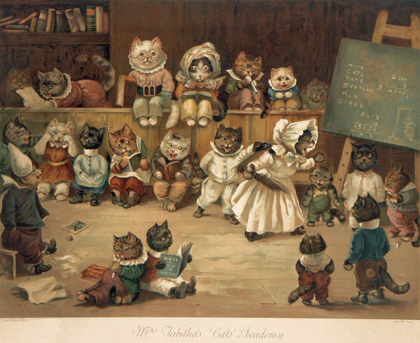 Humorous illustration by Louis Wain (1860-1939) showing a feline teacher instructing her kitten pupils