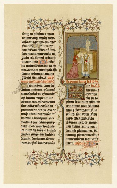 Page from a French breviary : the miniature depicts Hannah before Eli the High Priest
