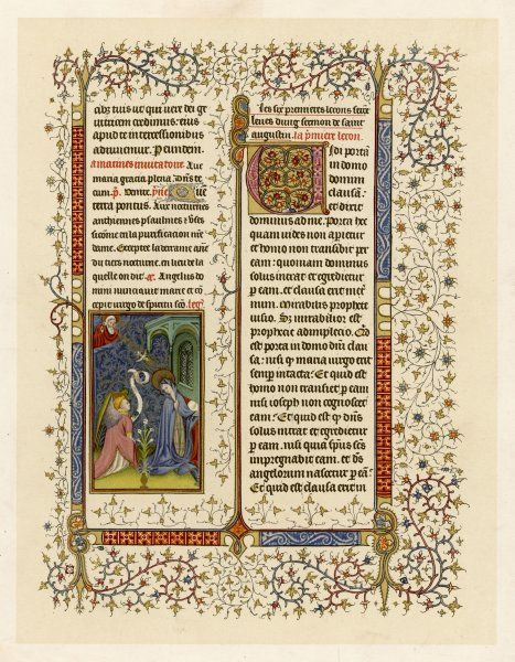page from a French Breviary: the miniature depicts the Annunciation to Mary by an angel, watched by God from up there Date: early 15th century
