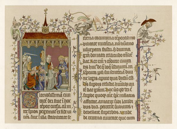 From a French manuscript of Augustine's 'De Civitate Dei' - the picture shows soldiers harassing early Christians, and donors offering gifts to the first Pope, Peter