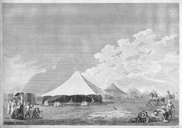The Scottish explorer Mungo Park visiting King Ali's tent at Benown, or Benowm, West Africa