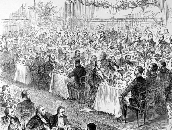 Banquet held in 1885 to celebrate the 50th anniversary of the Municipal Corporations Act of 1835. The Act, following on from the Reform Act of 1832 enabled 148 listed boroughs to establish a Town Council elected by rate-payers