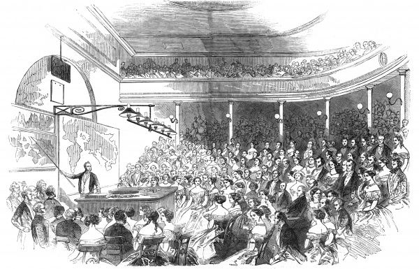 Sir Roderick Murchison lectures on geology (the distribution of gold ore) at the Royal Institution in London. Date: 1850