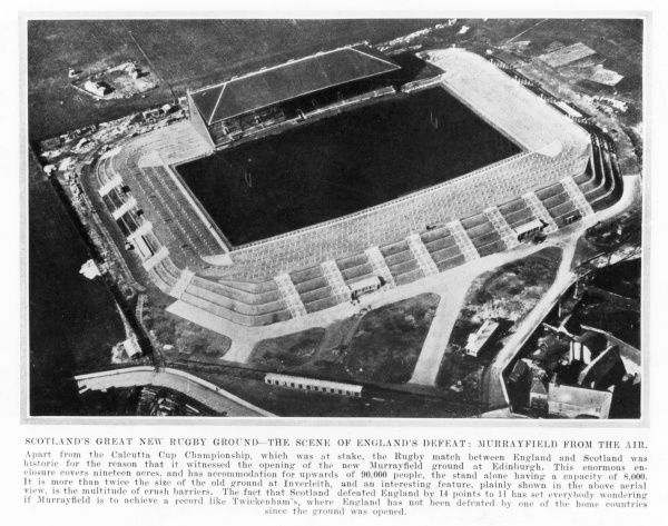 Murrayfield rugby stadium in Scotland, which opened in March 1925, shown from the air. Date: March 1925