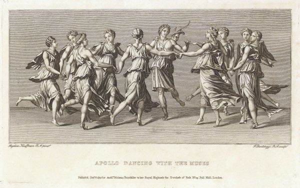 The Nine Muses dance with their patron and friend, Apollo (known as Apollo Musagete when playing this role)