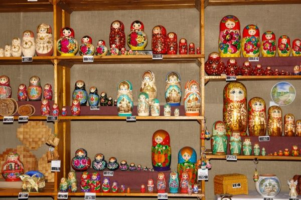 A display of souvenirs, including traditional wooden Russian dolls, on sale in the museum shop at Rostov Velikij (Rostov the Great), Russia