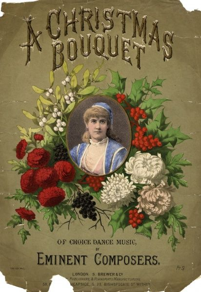 Music cover for A Christmas Bouquet of Choice Dance Music, by Eminent Composers. A cameo picture of a young woman in folk costume is surrounded by holly, mistletoe and flowers, against a gold background