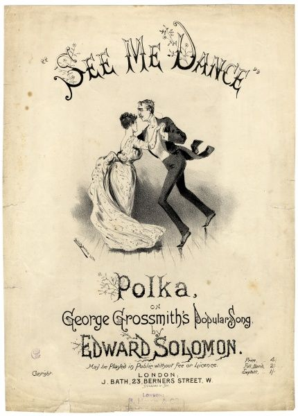 Music cover for See Me Dance the Polka, based on George Grossmith's popular song, arranged by Edward Solomon (1855-1895)