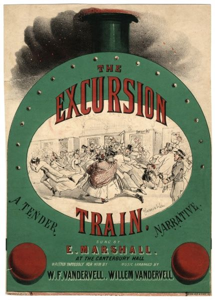Music cover for The Excursion Train, a Tender Narrative, sung by E Marshall at the Canterbury Music Hall in Lambeth, London