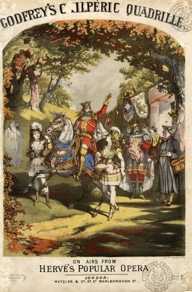 Music cover for Charles Godfrey's Chilperic Quadrille, based on airs from Herve's popular opera buffa (or operetta) Chilperic. Herve's Chilperic was a medieval burlesque, based on the story of the Merovingian King Chilperic I (ruled 561-584)