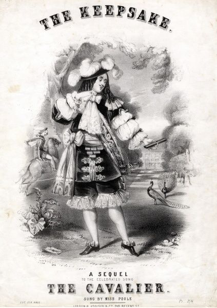 Music cover for The Keepsake, a Sequel to the Celebrated Song, The Cavalier, sung by Miss Poole. Words by W H Bellamy, music by Charles W Glover. A very elaborately dressed Cavalier of the 17th century is depicted in the grounds of a stately home