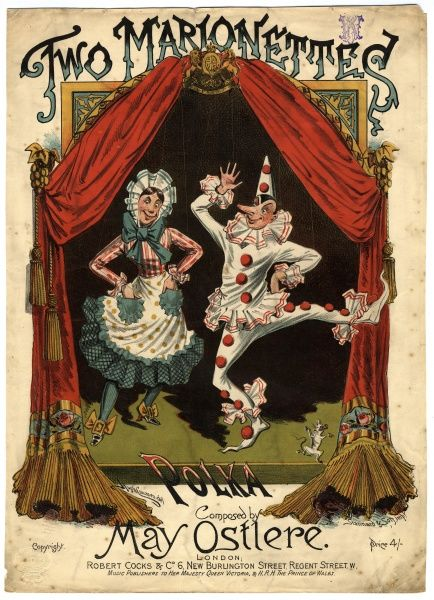 Music cover for Two Marionettes Polka, composed by May Ostlere