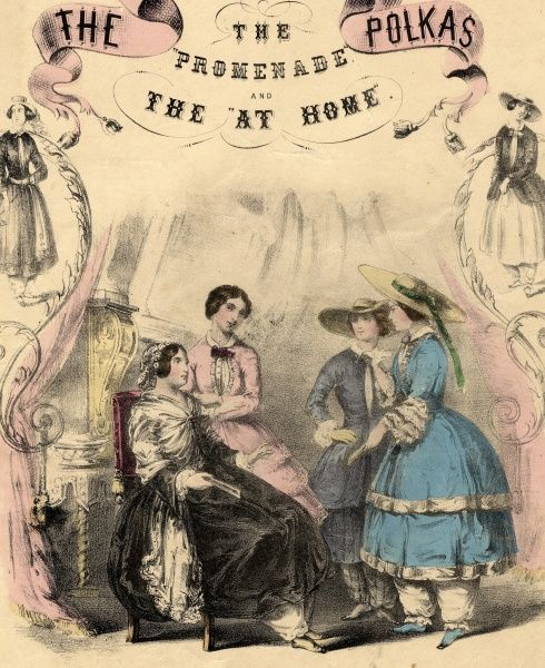 Music cover for The Promenade and At Home Polkas, depicting two young ladies on the right about to go out for a walk, in wide-brimmed straw hats and bloomers, and a mother and daughter on the left who are staying at home, perhaps because visitors