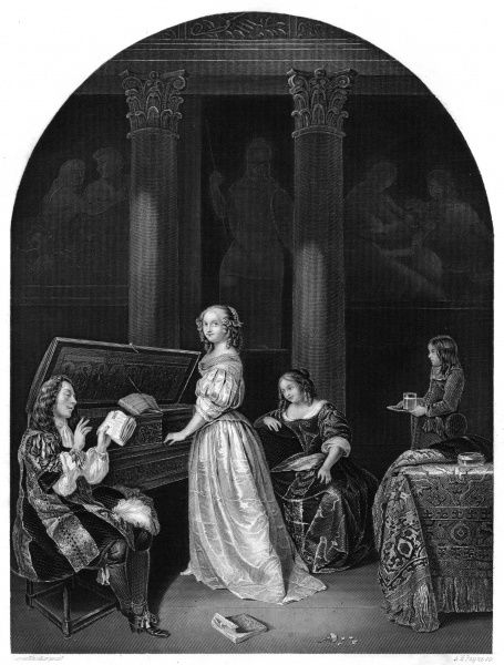 Music at home: a lady plays the harpsichord whilst a gentleman sings. Another lady looks on, and is served by a page. Date