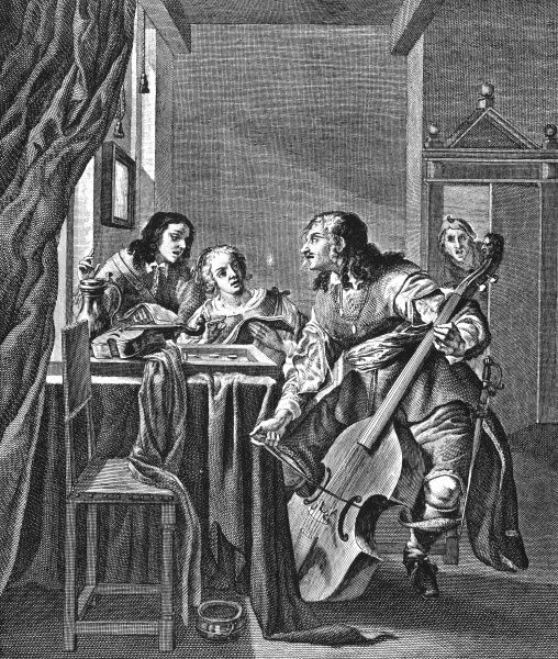 A trio of musicians sing and play together, whilst a fourth listens in at the door. A seated man plays the viol de gamba, while two others sing along. Date: Early 1600s