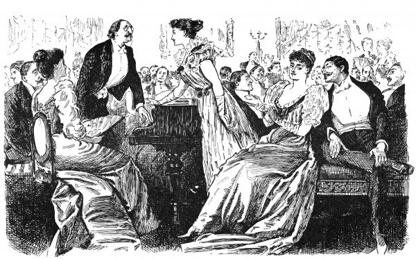 A tactless hostess thanks an obliging German pianist for playing at her soiree-she especially likes his playing as it doesn't interrupt conversation! Date: 1874
