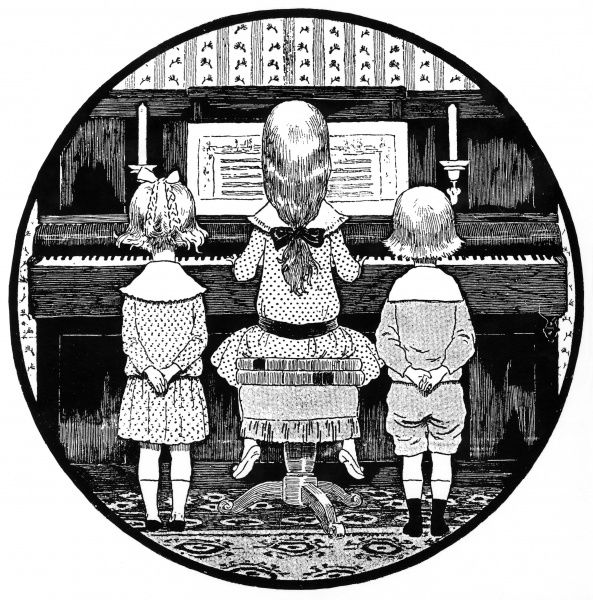 A girl plays the piano, while a boy and a girl listen. Date: 1889