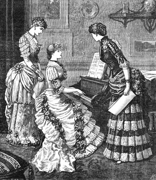 Three fashionable ladies gather round the piano to sing and play, whilst modelling the latest fashions for November 1883. Ruffles, pleats and and bows are in abundance. Date: 1883