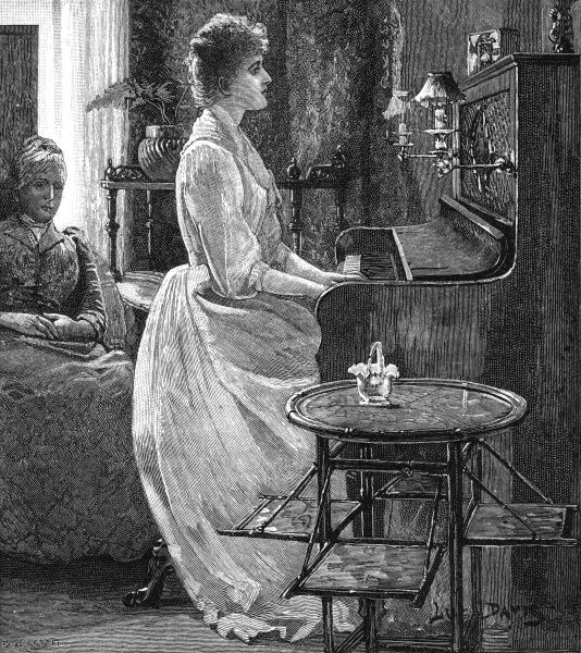 """Dulce let her fingers stray for a few moments aimlessly over the keys."" Date: 1891"