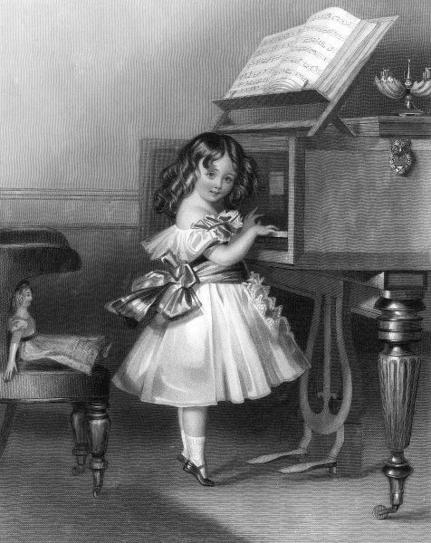Elizabeth Jane, daughter of Sir William and Lady Maria Somerville, plays the piano on tiptoe. Date: 1866