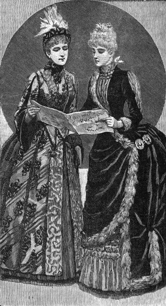 Two ladies inspect something new-the sheet music to the latest song to sing together. Date: 1880s