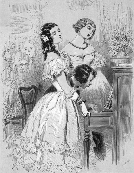 Two ladies sing, accompanied by a young man playing the piano. Date: 1849