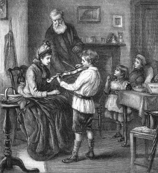 A young violinst performs for his family at home. Date
