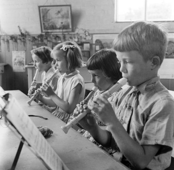Pupils learning the recorder at Bramfield Primary School, Suffolk, England. Date: July 1957