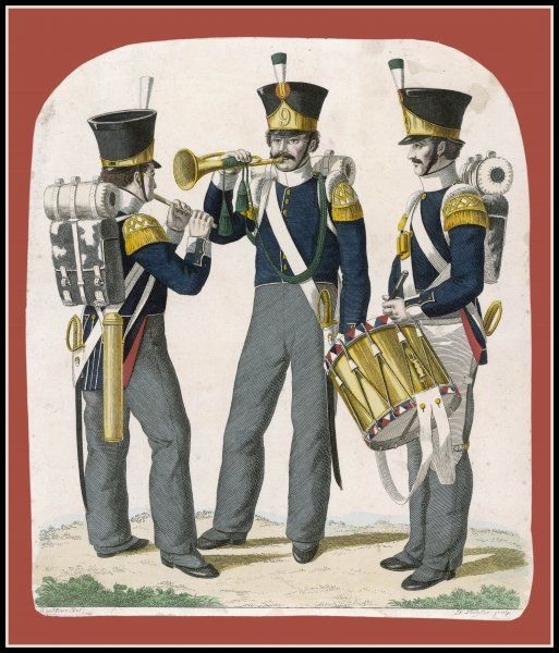 Three musicians - probably German, but they could be Dutch or Belgian - play a piccolo, a cornet and a drum respectively