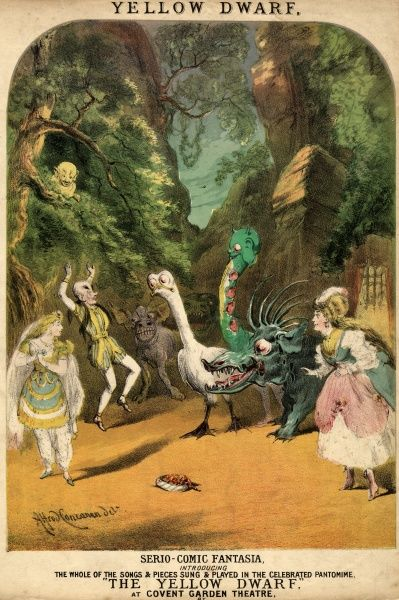 Cover design for a collection of music from the pantomime, The Yellow Dwarf, a serio-comic fantasia performed at Covent Garden Theatre. Various characters are depicted on stage, including the Yellow Dwarf himself up in a tree, two women, a man
