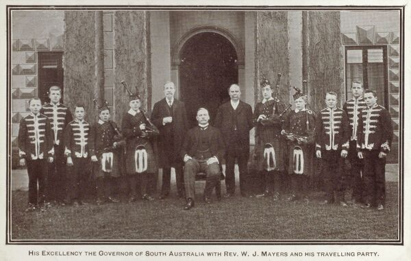 His Excellency the Governor of South Australia with Reverend W. J. Mayers and his travelling party. During 1908-10, Rev. W. J. Mayers and a party of Musical Boys toured in Australia and New Zealand. 700 services and meetings were held and 17