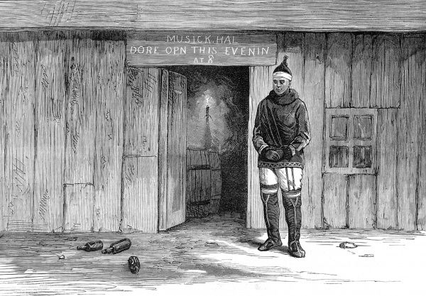 Engraving showing the building on Disco Island, Greenland, which the crew of the Arctic exploration ship, 'Pandora', had converted to use as a 'Musick Hal' for their entertainment, 1875. A female inhabitant of Disco Island stands on the right