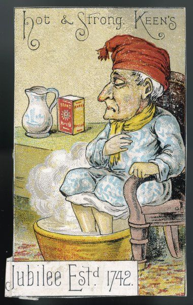 Hot & Strong; a man in a red night cap warms his feet in a mustard foot bath