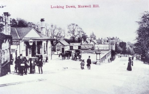Looking down Muswell Hill, in north London. Date: circa 1900