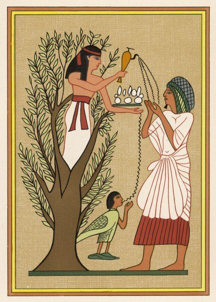 As loving mother-goddess, Mut pours water from the sycamore tree over a deceased person and his soul