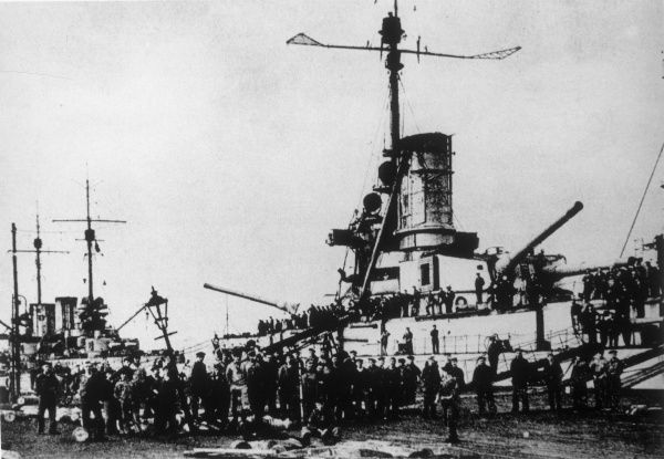 The German fleet refuses to put to sea at Kiel. A wave of revolutionary activity followed across Germany, but war weariness was also a factor in the mutiny