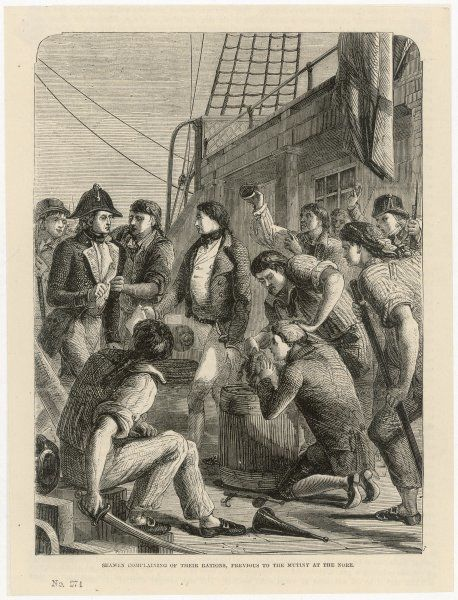 Seamen complain about the state of their rations, prior to a mutiny aboard the ship 'The Nore&#39