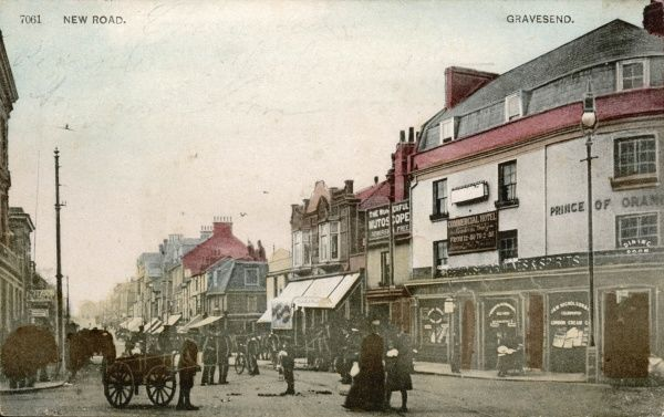 New Road, Gravesend (Kent) - notice the premises of 'The Wonderful Mutoscope' (a forerunner of the cinema) - Admission Free !